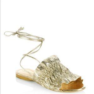 Mercedes Castillo gold lace up sandals